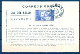 1944 , MADRID , DIA DEL SELLO , TARJETA CONMEMORATIVA , ED. 983 , DOCTOR THEBUSSEM - 1931-50 Lettres
