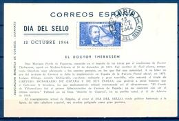 1944 , MADRID , DIA DEL SELLO , TARJETA CONMEMORATIVA , ED. 983 , DOCTOR THEBUSSEM