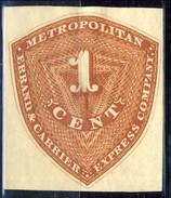 US Local. 1886 Metropolitan Express Company, Errande & Carrier 1 Cent