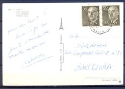 1967 , PONTEVEDRA , TARJETA POSTAL CIRCULADA ENTRE VIGO Y BARCELONA , AMBULANTE GALICIA