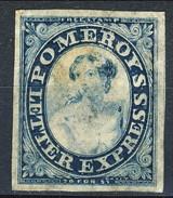US Local, RARITA', 1844 Pomeroy's Letter Express New York, Albany, Buffalo, Toronto, Azzurro E Blu M