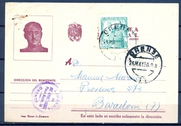 1950 , ORENSE , TARJETA POSTAL PATRIOTICA CIRCULADA A BARCELONA , ED. 1026