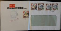 ITALIA ITALY - Cover 1990 - Cancel BASSANO DEL GRAPPA - Stamps CASTELLO 100 & 500 - Via Aerea