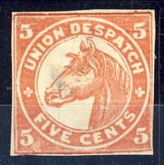 US Local, 1865 Union Despatch Five Cents Rosso, Chicago - 1845-47 Emissions Provisionnelles