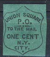 US Local, 1850s UNION SQUARE PO NY .O. To The Mail ONE CENT N. Y. City, Verde Blu - 1845-47 Emissions Provisionnelles