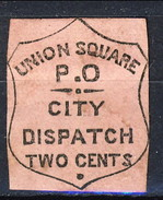 US Local 1850s UNION SQUARE PO NY .O. To The Mail ONE CENT N. Y. City, Rosa, M - 1845-47 Emissions Provisionnelles