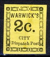 US Local, 18?? Warwick's City Dispatch Post. M - 1845-47 Emissions Provisionnelles