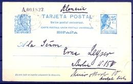 1933 , BALEARES  , ENTERO POSTAL E.P. 71 CIRCULADO ENTRE PALMA DE MALLORCA Y BERLIN - Enteros Postales