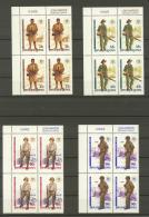 Papua New Guinea 50 Year World War II Michel 659-662 Blocks Of Four MUH (422) - Papua New Guinea