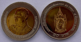 THAILANDIA 10 BAHT 2007 COMMEMORATIVA BIMETALLICA 80 ANNI RE FDC UNC - Tailandia