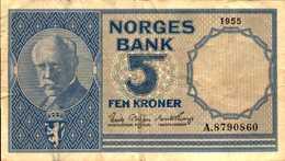 NORVEGE 5 KRONER De 1955  Pick 30a - Norvège