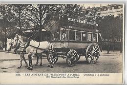 Les Moyens De Trasport à Paris  Omnibus à 2 Chevaux '( Cie Générale Des Omnibus ) - Transport Urbain En Surface