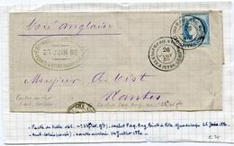 Fragment De Lettre Avec N°21 Oblitéré Le 26/06/1880 Cachet Paq Ang POINTE A PITRE GUADELOUPE - Guadeloupe (1884-1947)