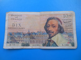 10 NF Richelieu 2-2-1961 N°97811 Fayette 57/14 TB - 1959-1966 ''Nouveaux Francs''