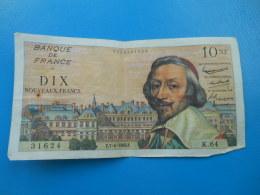 10 NF Richelieu 7-4-1960 N°31624 Fayette 57/6 TTB - 1959-1966 ''Nouveaux Francs''