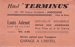 """Carte De Visite Ancienne Nouvel Hôtel """" Terminus """" 127.129.ae Gambetta Angoulème Louis Adenot Chef Cuisinier - Visitekaartjes"""