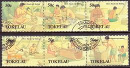 TOKELAU 1990 SG 183-88 Compl.set In Two Strips Of 3 Used Men's Handicrafts - Tokelau