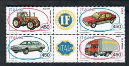 1984 ITALY  ITALIE ITALIA 1984 Costruzioni Automobilistiche Blocco Di 4 Nuovo** Cod.fra.945 - 6. 1946-.. Republic