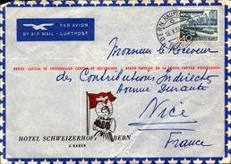 Lettre De Bern, Hotel Schweizerhof Pour La France, Contributions Directes Nice   (bon Etat) - Cartas
