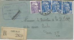 LETTRE RECOMMANDEE 1954  AVEC  4 TIMBRES AU TYPE MARIANNE DE GANDON - Marcophilie (Lettres)