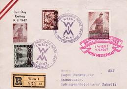 ÖSTERREICH. 1947 . Wiener Internationale Messe. Briefmarkenmesse 7.9.1947. Mi: 834 + 835 + 836. R Wien 1 434 Aa - Entiers Postaux