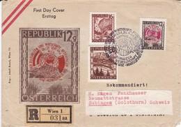 ÖSTERREICH. 1946.  Mi: 749 + 765 + 784 . R Wien 1 031 Aa. Nach Subingen ( Solothurn) - Ganzsachen