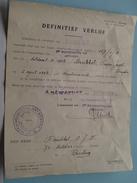 DEFINITIEF Verlof 1936 + Docu Toekenning Decoratie 1919/1923 DRUBBEL Prosper ( Details : Zie Foto's ) ! - Documents