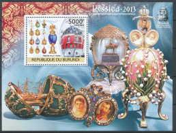 NB- BURUNDI 2012 - Exposition Philatélique Internationale - Rossica 2013, Maison ?ufs De Fabergé, Art, Joyaux - Philatelic Exhibitions