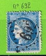 OBLIT GC N°692 CAGNES - ALPES MARITIMES - 1849-1876: Période Classique