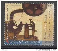 Croatia Kroatien Hrvatska 2005 Mi 736 ** Morse Code Machine - 1st Overhead Telegraph Lines In Croatia / Morseapparat - Telecom