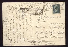 """CARTOLINA DEL 1941 CON  TIMBRO A TARGHETTA """" LA LOTTERIA ESPOSIZIONE ROMA """" + TIMBRI DI CENSURA - 1900-44 Vittorio Emanuele III"""