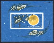HUNGARY 1965 Space Exploration Imperforate Block MNH / **.  Michel Block 52B - Blocks & Sheetlets