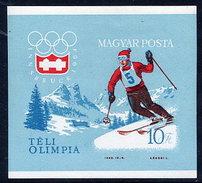 HUNGARY 1964 Winter Olympics: Innsbruck Imperforate Block MNH / **.  Michel Block 40B - Blocks & Sheetlets
