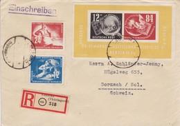 DR. 1950 DEBRIA - Block 7 + 273 + 274. Einschreiben R Lauscha (Thüringerw.) 518 45b Nach Dornach - Allemagne