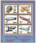 1983 Niue Transport Manned Flight Zepplin  Miniature Sheet Of 6 MNH