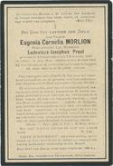 Doodsprentje: MORLION Eugenia-Cornelia: ° Alveringem, 1833 Aldaar + 1904. Echt. Van Ludovicus-Josephus PROOT - Religion & Esotérisme