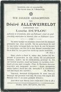 Doodsprentje: ALLEWEIRELDT Désiré: ° Krombeke, 1845, + Stavele, 1922. Echtgenoot Van Lucie DUFLOU - Religion & Esotericism