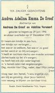 Doodsprentje: DE GROOF Andrea Adelina: ° Itegem, 1946 Aldaar + 1947. Dochter Van Andreas En Adelina VERVOORT - Religion & Esotericism