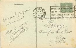 O.MEC FLIER PARIS ST ROCH EXPO ARTS DECORATIFS 1925 SUR PCA - Annullamenti Meccanici (pubblicitari)