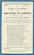 Doodsprentje: DE SCHRYVER Irma-Rachel: ° St-Amandsberg, 1912 Aldaar + 1917. Dochter Van Henri En Marie MORTIER - Religion & Esotérisme