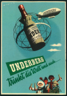 1958, UNDERBERG-Luftschiff Bordstempel Auf Werbekarte. - Zeppelins