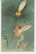 """ENFANTS - ANGES - Jolie Carte Fantaisie Gaufrée Angelot Et Marguerite """"Pas Du Tout """" (embossed Postcard) - Dessins D'enfants"""