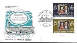 1972 NOUVELLES HEBRIDES  PREMIER JOUR  NOCE D ARGENT ROYALE - FDC