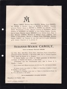 BRUXELLES SAINT-JOSSE Suzanne CAROLY Veuve GISLER 1824-1889 Famille MENTEN De HORNE BRIFAUT - Décès
