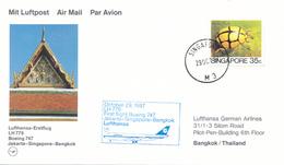 SINGAPORE - 1987 ,  First Flight LH 779  Singapore - Bangkok
