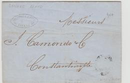 Turkey Ottoman Emp.  Austrian Post Smirne 1857 EL Canc. Lloyd Smirne To Constantinople - Turkey