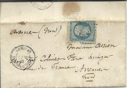 Guerre De Crimée 1855 Armée D'Orient 2°corps N°14 Défectueux Losange AOQG Texte Intéressant Du Siège De Sébastopol - Marcofilie (Brieven)