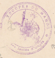 """Cachet Triple Couronne """" Troupe Du Maroc - Xxxxxxx Des Isolés D'Oujda - Circ Sur CP, Oujda, Femme Marocaine, 1941 - Marcofilie (Brieven)"""