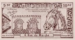 """Petite Facture Commerciale / Restaurant """"A L'Ecurie"""" / Banque Gastronomique / 06 Vieux Nice / Cheval / Fer à Cheval - Cartes"""