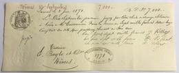 Lettre De Change Solidaire De 1871 Avec Timbre Fiscal Sceau Impérial Et Papier Filigrané - Lettres De Change